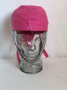 scrub cap/bandana hat/go fast hat - PINK - breast cancer logo