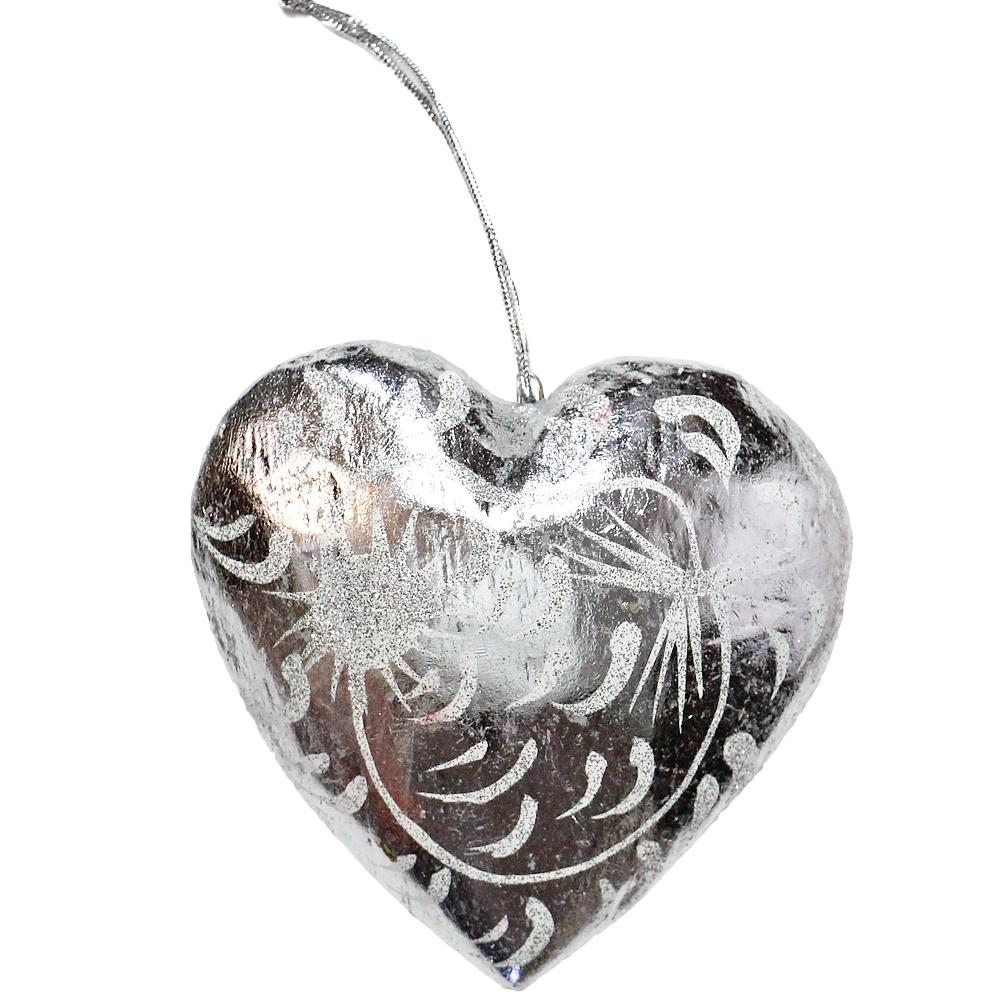 8cm Silver Glitter Heart ornament