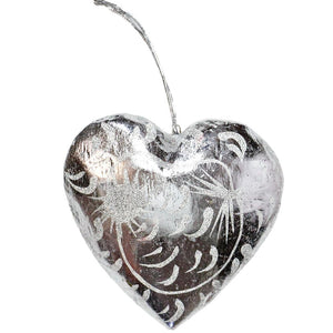 6cm Silver Glitter Heart ornament