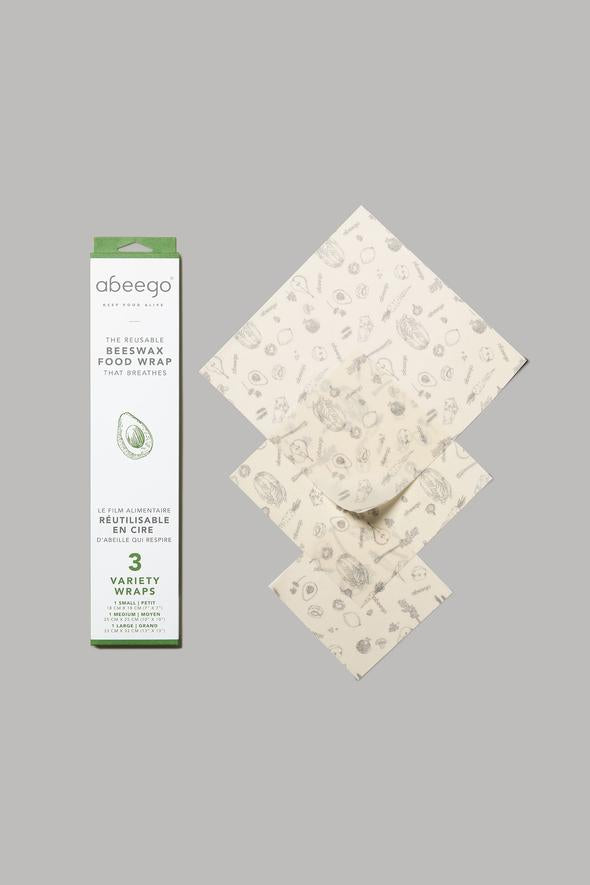 Abeego Beeswax Food Wraps - Variety 3pack