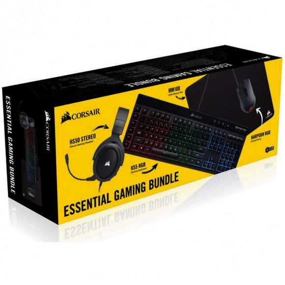 CORSAIR - Essential Wired Gaming Bundle (K55 Wired Gaming Membrane Keyboard/ HS50 Gaming Headset/Harpoon RGB Gaming Mouse/MM100 Cloth Gaming Mouse Pad) - Shop Market Deals