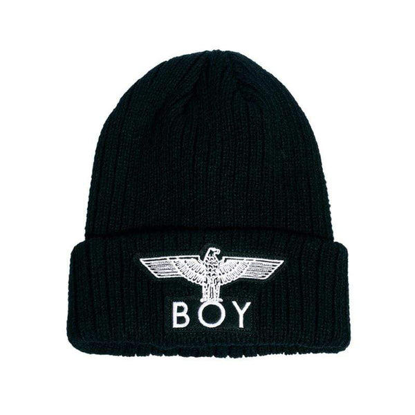 BOY LONDON BEANIE ONE SIZE BOY EAGLE BEANIE - BLACK/WHITE