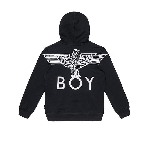 BOY LONDON KIDSWEAR 3-4 YEARS / BLACK/WHITE BOY EAGLE BACKPRINT KIDS HOODIE