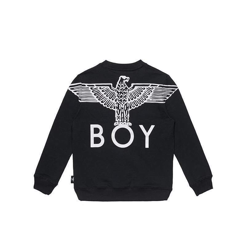BOY LONDON KIDSWEAR 3-4 YEARS / BLACK/WHITE BOY EAGLE BACKPRINT KIDS SWEATSHIRT