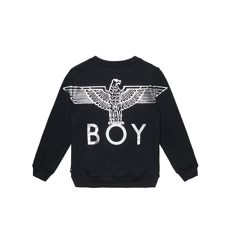 BOY LONDON KIDSWEAR 3-4 YEARS / BLACK/SILVER BOY EAGLE BACKPRINT KIDS SWEATSHIRT