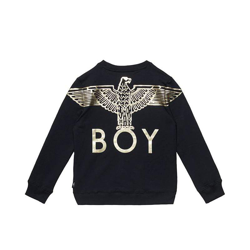 BOY LONDON KIDSWEAR 3-4 YEARS / BLACK/GOLD BOY EAGLE BACKPRINT KIDS SWEATSHIRT