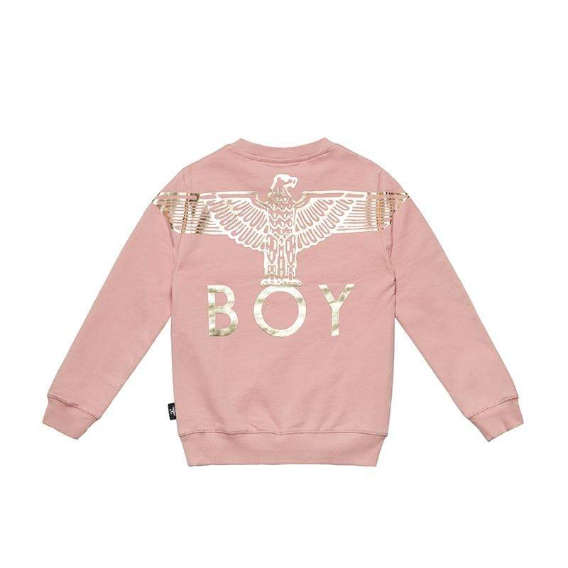 BOY LONDON KIDSWEAR 3-4 YEARS / PINK/GOLD BOY EAGLE BACKPRINT KIDS SWEATSHIRT