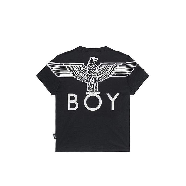 BOY LONDON KIDSWEAR 3-4 YEARS / BLACK/WHITE BOY EAGLE BACKPRINT KIDS T-SHIRT