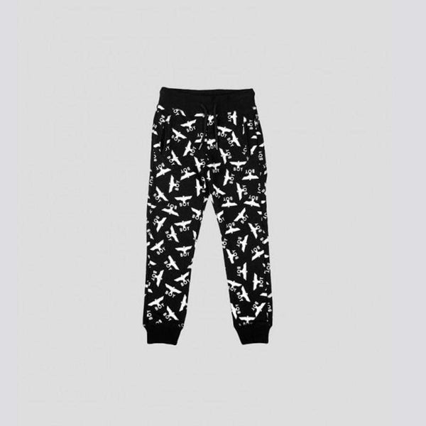 BOY LONDON KIDSWEAR 3-4 YEARS / BLACK/WHITE BOY EAGLE REPEAT KIDS JOGGERS