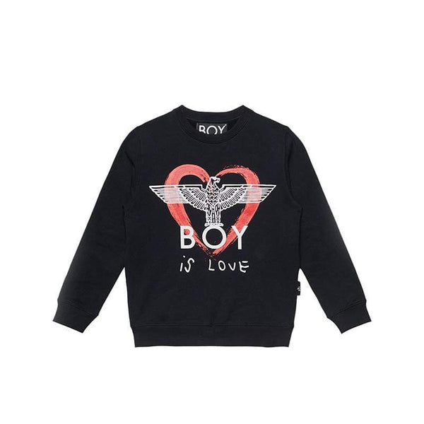 boy-london-shop KIDSWEAR 3-4 YEARS / BLACK BOY IS LOVE KIDS SWEATSHIRT