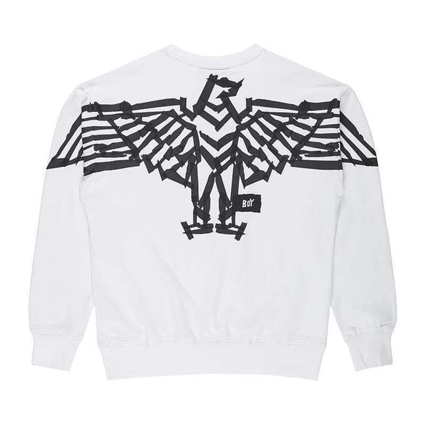 BOY LONDON SWEATSHIRT BOY BACKPRINT TAPE EAGLE  SWEATSHIRT - WHITE