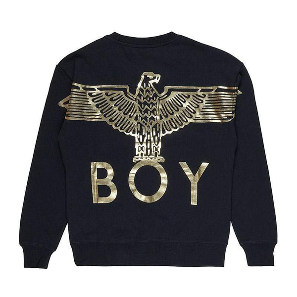 BOY LONDON SWEATSHIRT XS / BLACK/SILVER BOY EAGLE BACKPRINT SWEATSHIRT - BLACK
