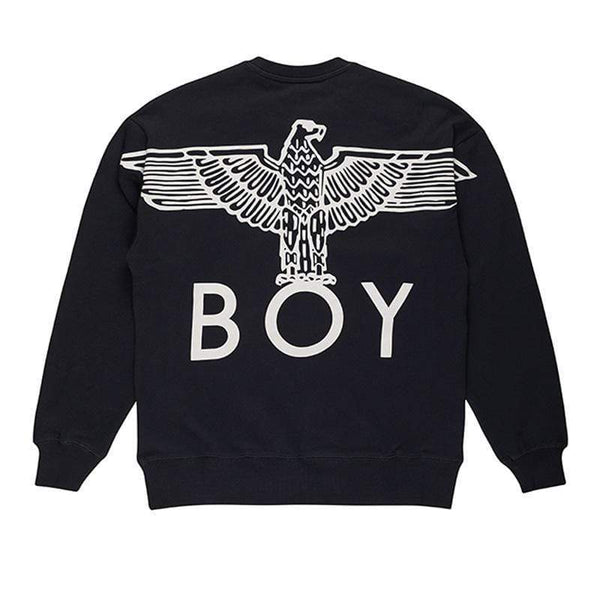BOY LONDON SWEATSHIRT XS / BLACK/WHITE BOY EAGLE BACKPRINT SWEATSHIRT - BLACK