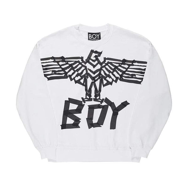 BOY LONDON SWEATSHIRT BOY TAPE EAGLE SWEATSHIRT - WHITE