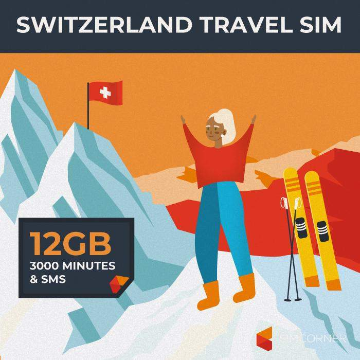 Switzerland Travel Sim Card (12GB)
