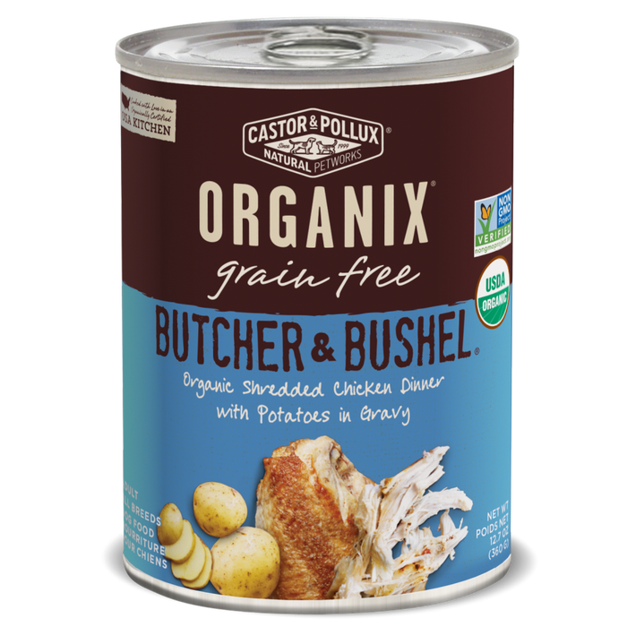 Castor and Pollux Organix Butcher and Bushel Organic Shredded Chicken with Dinner with Potato Canned Dog Food