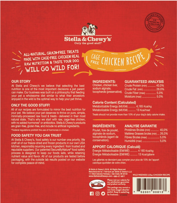 Stella & Chewy's Wild Weenies Grain Free Chicken Recipe Freeze Dried Raw Dog Treats