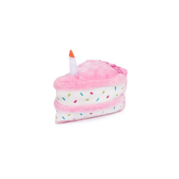 ZippyPaws NomNomz Plush Pink Birthday Cake Dog Toy