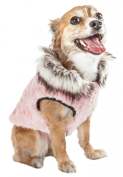 Pet Life Luxe Pinkachew Faux Mink Fur Dog Coat