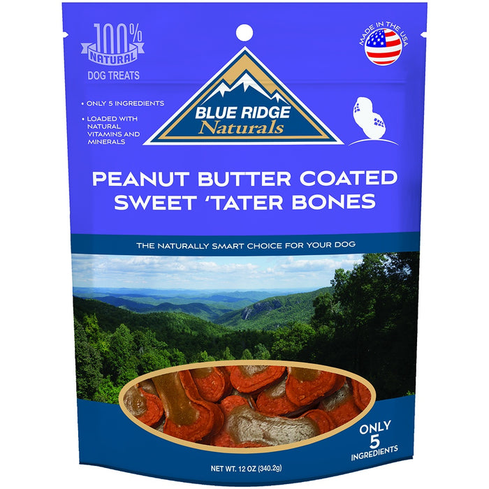Blue Ridge Naturals Peanut Butter Coated Sweet 'Tater Bones Dog Treats