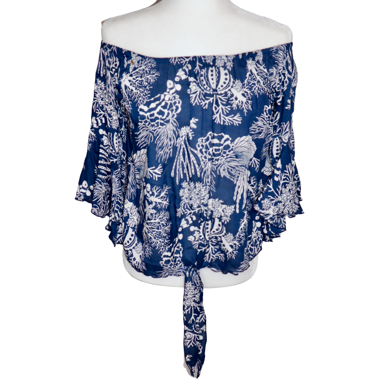 Blue Coral Tie Front Top
