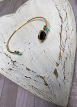 Load image into Gallery viewer, Gold Gem Stone Bangle