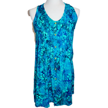 Load image into Gallery viewer, Turquoise Hibiscus Pintuck Tunic Dress