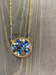 Blue Beaded Circle Necklace