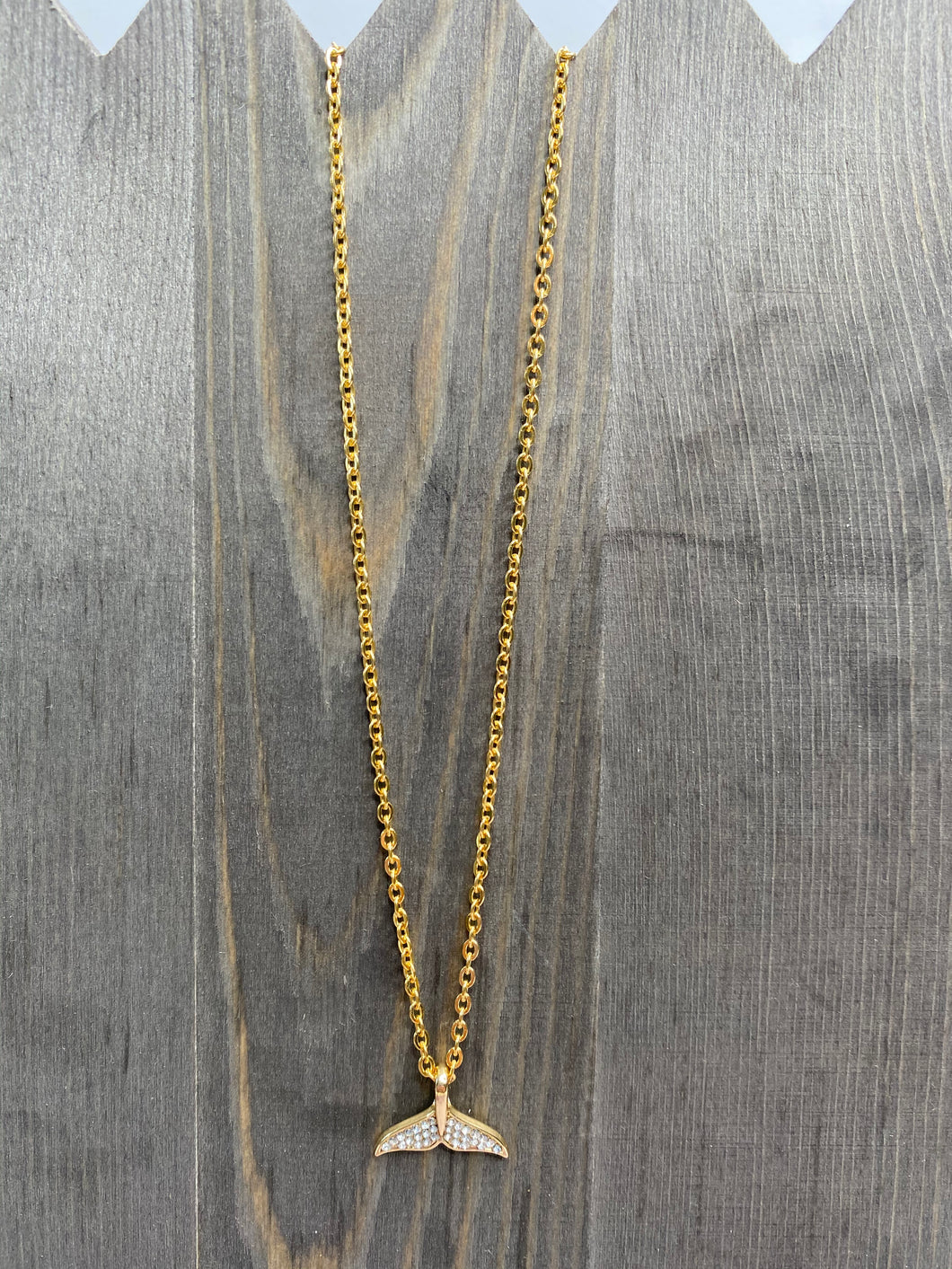Rhinestone Gold Whales Tail Necklace