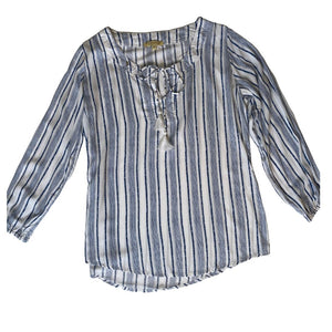 Blue and White Striped Tassel Tie Blouse
