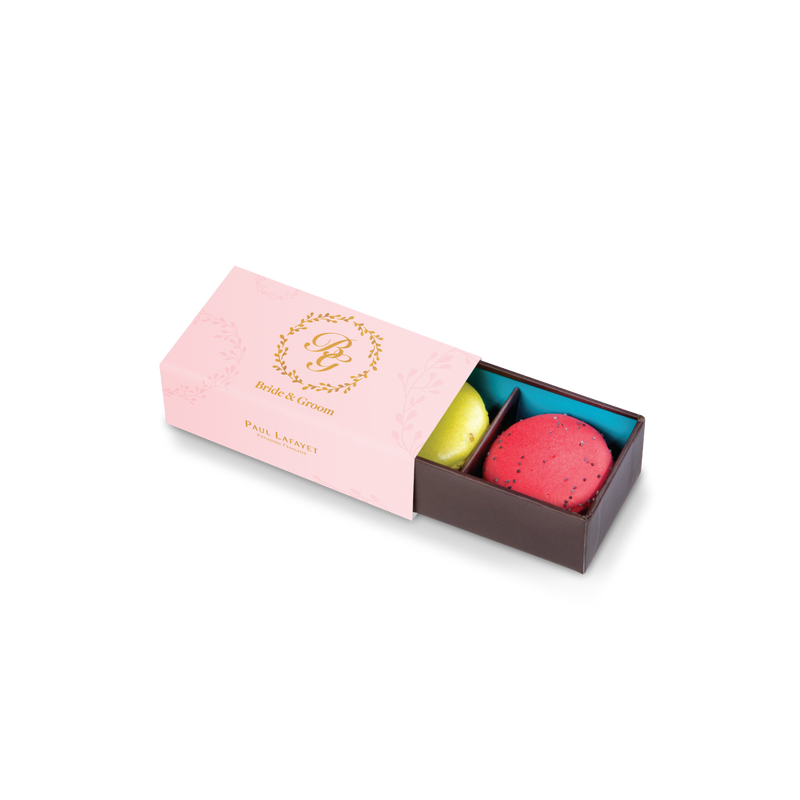 Wedding Macaron Gift Box 2 pcs - Monogram Custom