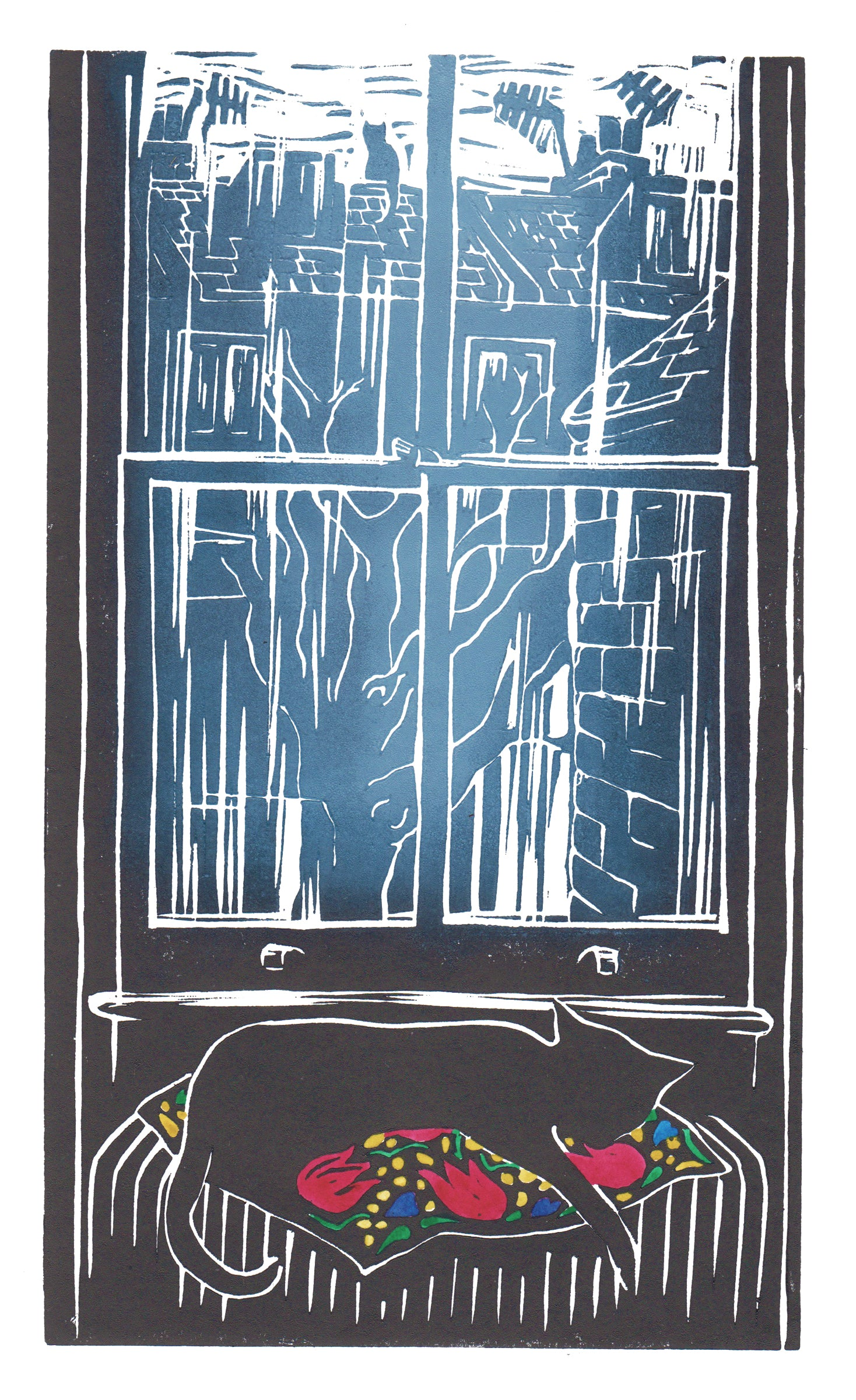 Lockdown Cat, linocut print of a black cat asleep on the radiator while his friend watches from the rooftops of London