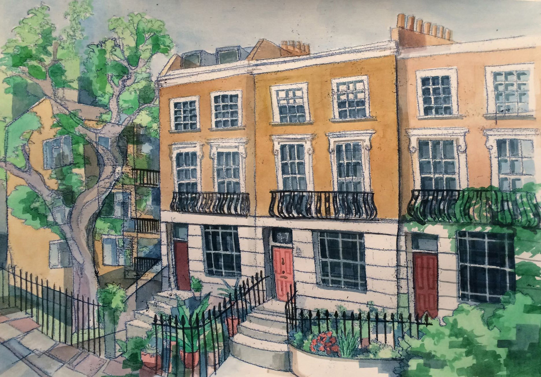 Camden Town Terrace Commission by Kate Guy Monotype Prints