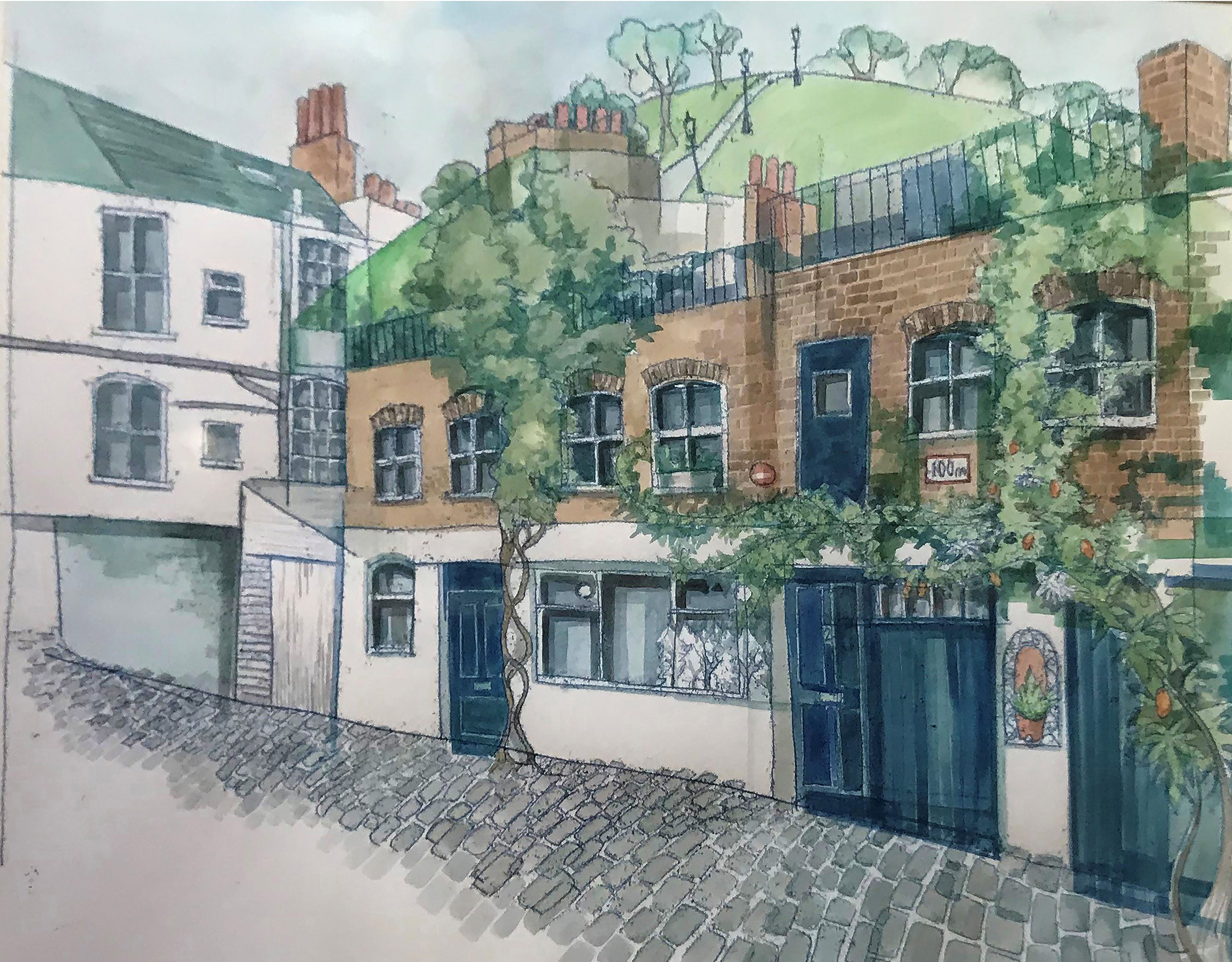 Monotype print Mews House Primrose Hill London Commission by Kate Guy