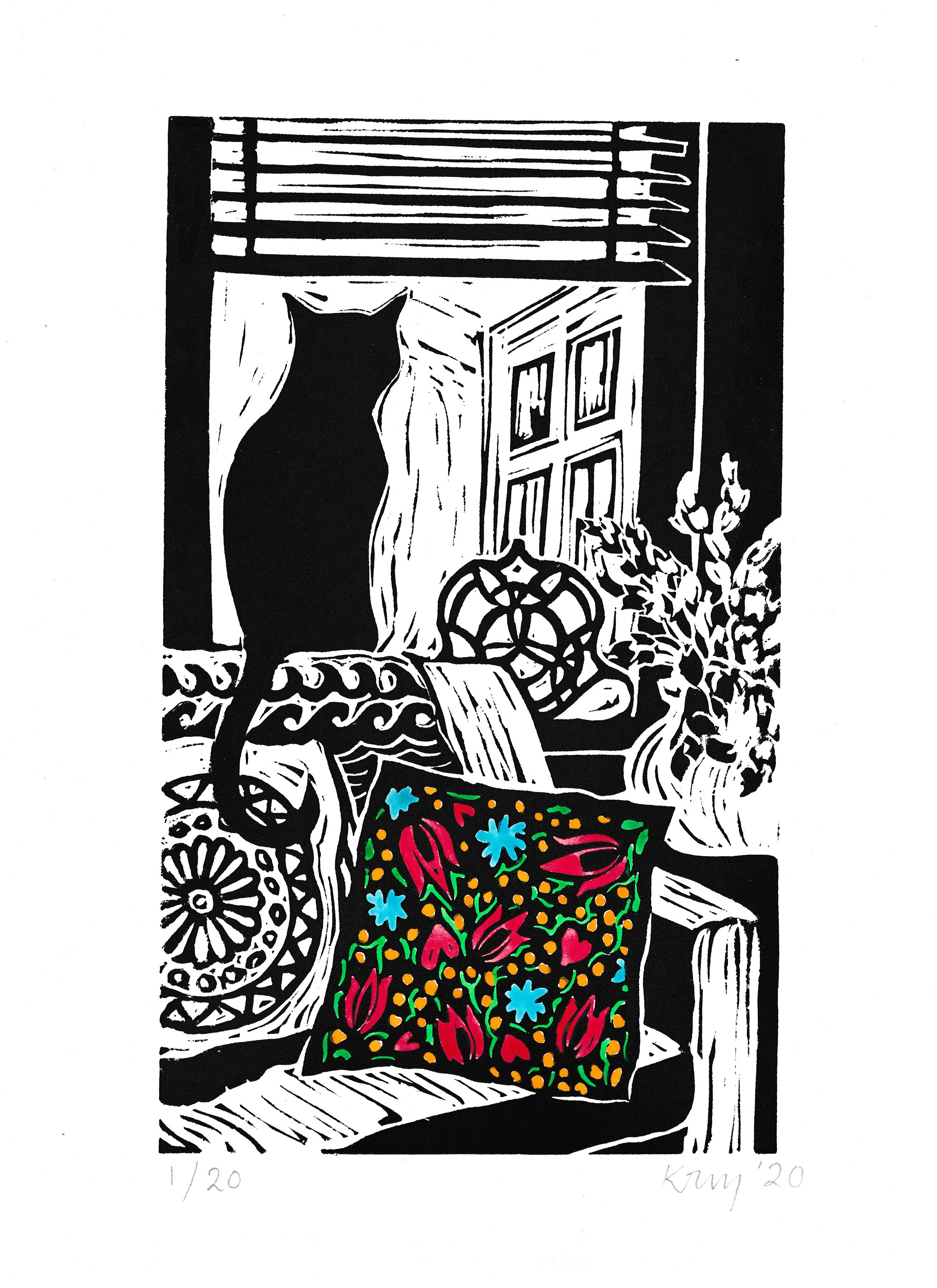 Kate Guy prints Lockdown cat with mexican cushion