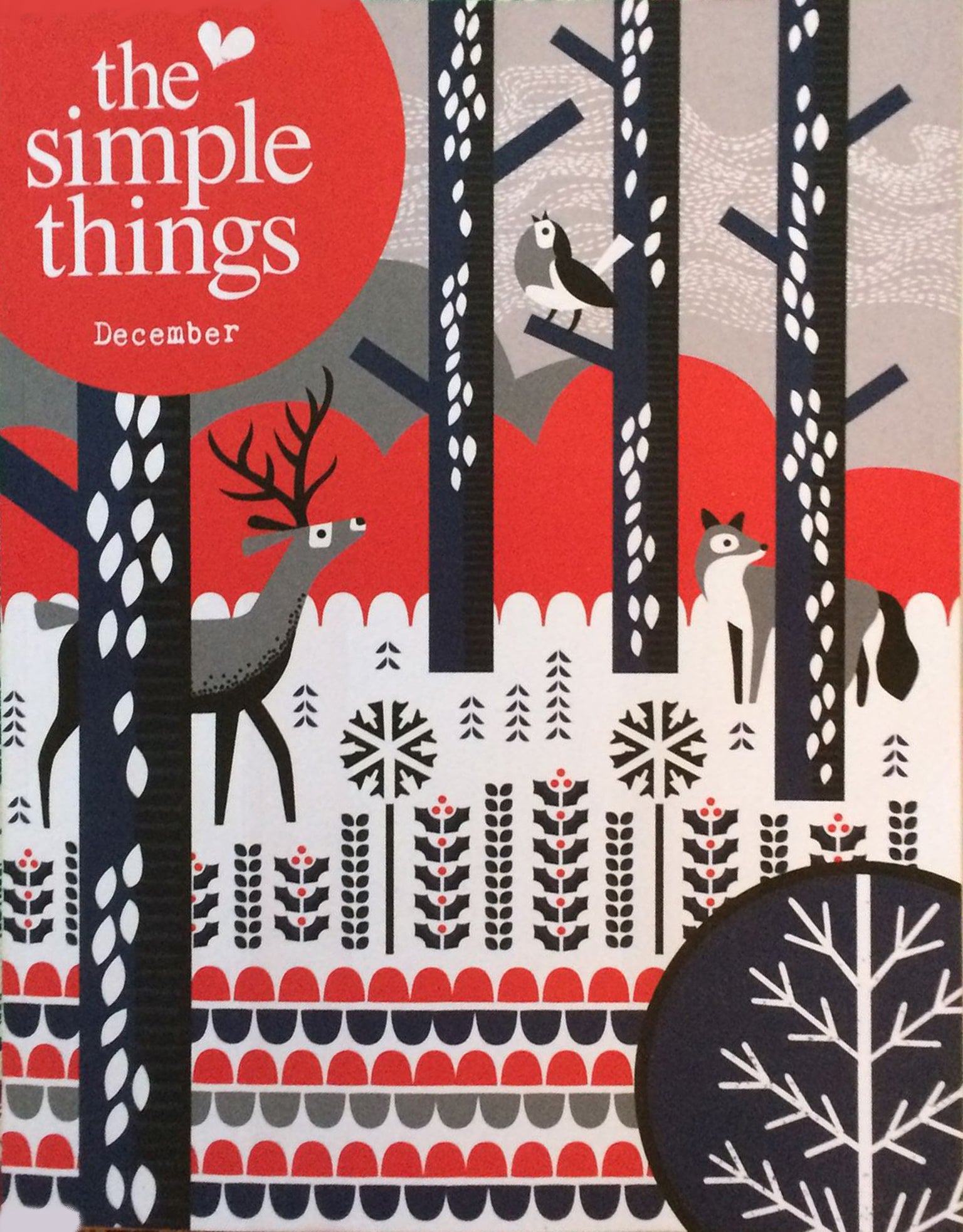 Simple Things Magazine Cover Kate Guy Lino Cuts of the Twelve Days of Christmas