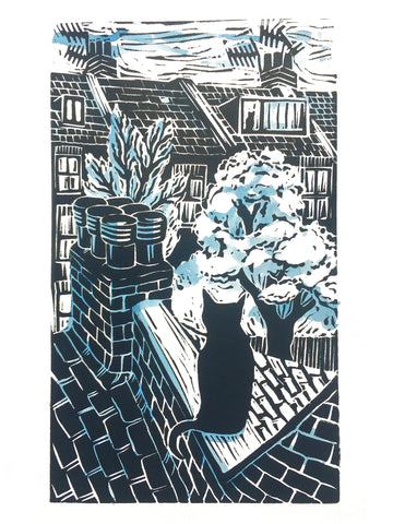 Kate Guy Prints Lockdown cat out on the tiles