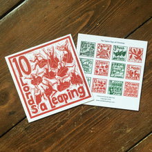 Load image into Gallery viewer, Ten Lords a Leaping Greetings Card lino cut by Kate Guy