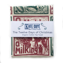 Load image into Gallery viewer, Twelve Days of Christmas organic cotton tea towel, lino cut print by Kate Guy