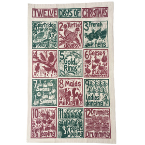 Twelve Days of Christmas organic cotton tea towel, lino cut print by Kate Guy