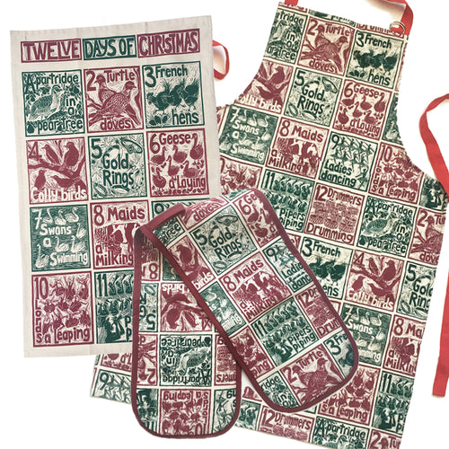 Christmas Gift Set Tea Towel, Apron and Double Oven Glove illustrated recipes mix and match Kate Guy Prints