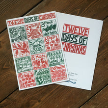 Load image into Gallery viewer, A5 Greetings Card The Twelve Days of Christmas lino cut print by Kate Guy