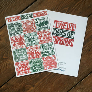 A5 Greetings Card The Twelve Days of Christmas lino cut print by Kate Guy