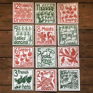 Set of 12  Greetings Cards of The Twelve Days of Christmas lino cut print by Kate Guy