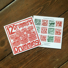 Load image into Gallery viewer, Twelve Drummers Drumming Greetings Card lino cut by Kate Guy
