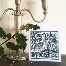 Load image into Gallery viewer, A Partridge in a pear tree greetings card lino cut by Kate Guy