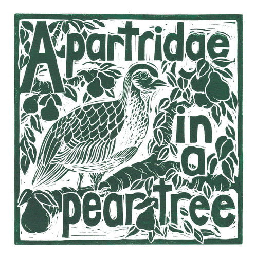 A Partridge in a pear tree greetings card lino cut by Kate Guy