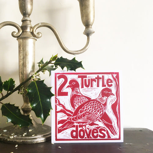 Two Turtle Doves Greetings Card Lino cut by Kate Guy