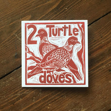 Load image into Gallery viewer, Two Turtle Doves Greetings Card Lino cut by Kate Guy