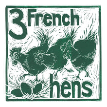Load image into Gallery viewer, Three French Hens Greetings Card lino cut by Kate Guy